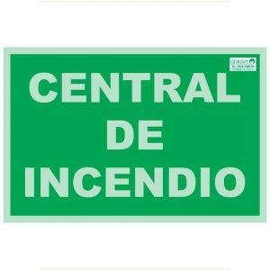 Cartel indicador de central de incendios