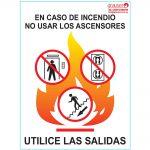 """Cartel indicador de """"En caso de incendio no usar ascensores"""""""