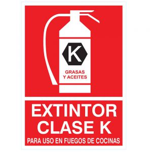 Cartel indicador de extintor clase K – Para cocinas