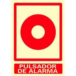 Cartel indicador de pulsador de alarma de incendio