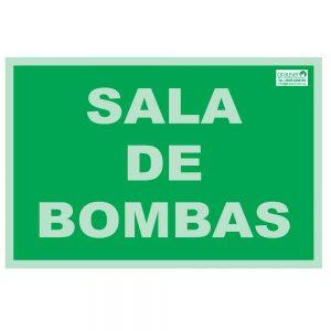 Cartel indicador de sala de bombas