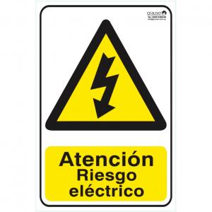 Cartel indicador de riesgo eléctrico